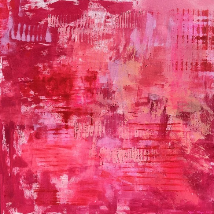 """MIAMI PINK, Chloé Meyer original art, 24"""" X 24"""", abstract oil painting on canvas"""