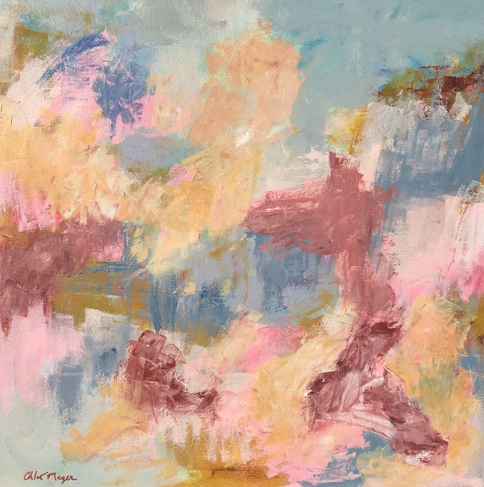 "HIGH TIME, Chloé Meyer original art, 20"" x 20"", abstract oil painting on canvas"