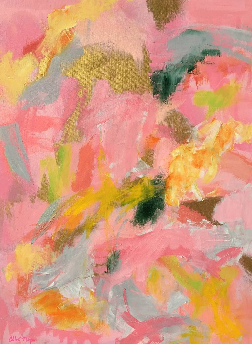 "SHERBERT SKIES 1, Chloé Meyer original art, 18"" X 20"", abstract oil painting on canvas"