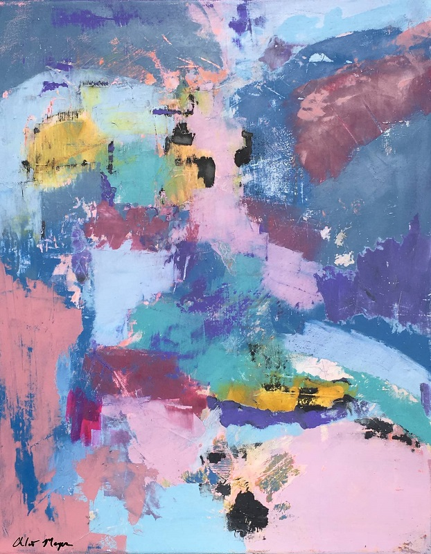 """PATHWAYS ARE CREATED, Chloé Meyer original art, 16"""" x 20"""", abstract oil painting on canvas"""