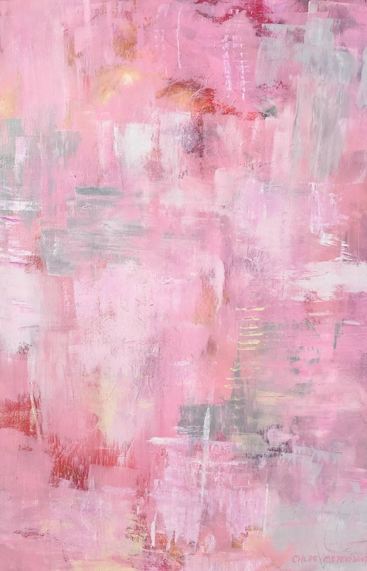 "PINK GRAIN, Chloé Meyer original art, 24"" X 36"", abstract oil painting on canvas"