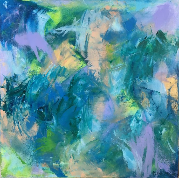 """IN THE GARDEN, Chloe Meyer original art, 20"""" x 20"""", abstract oil painting on canvas"""