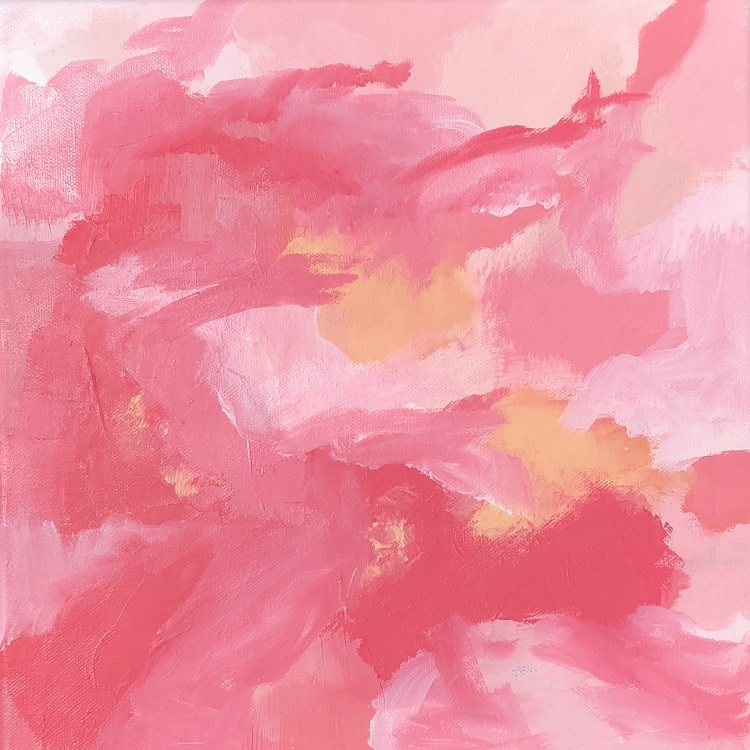 "BLUSH DREAM, Chloé Meyer original art, 12"" x 12"", abstract oil painting on canvas"