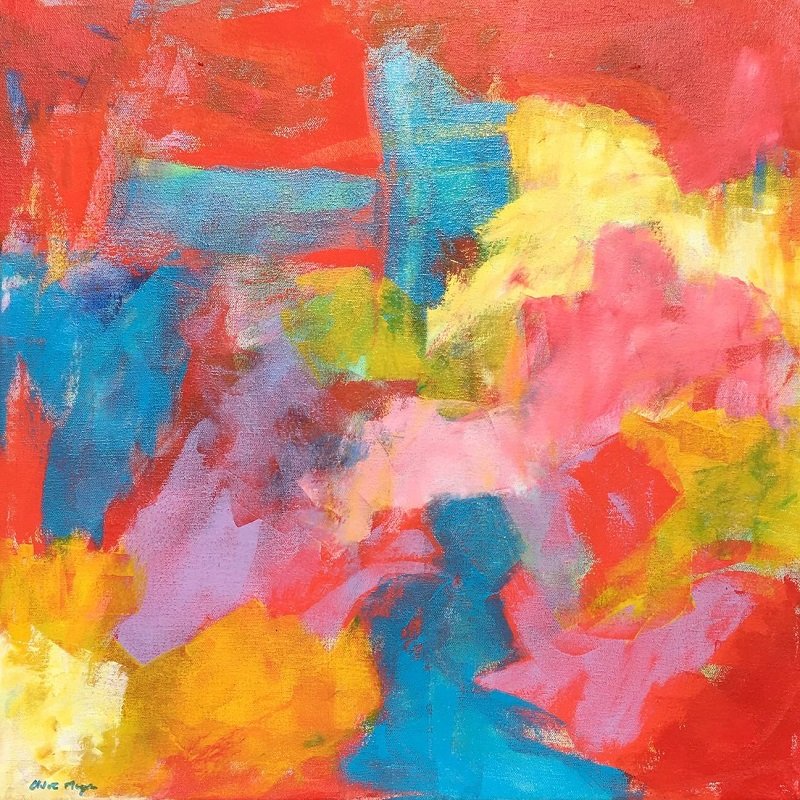 "IT'S ALL JOY, Chloé Meyer original artwork, 20"" x 20"", abstract oil painting on canvas"