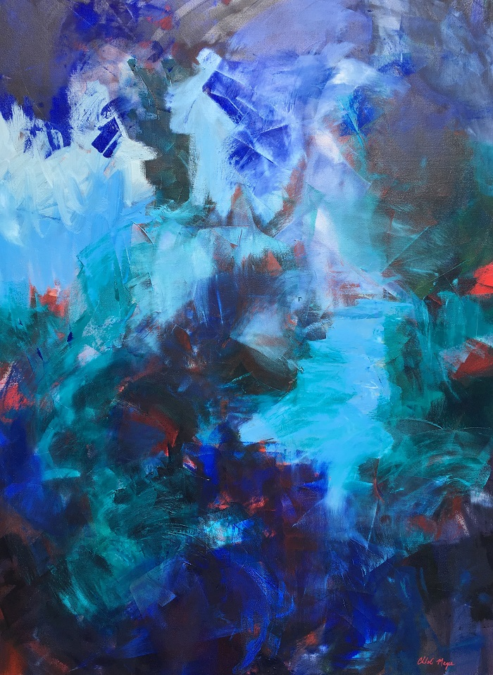 """WATCHING BLUE, Chloé Meyer original art, 30"""" X 40"""", abstract oil painting on canvas"""
