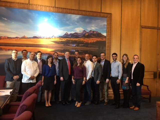 Cuban entrepreneurs meet with Colorado Governor John Hickenlooper.