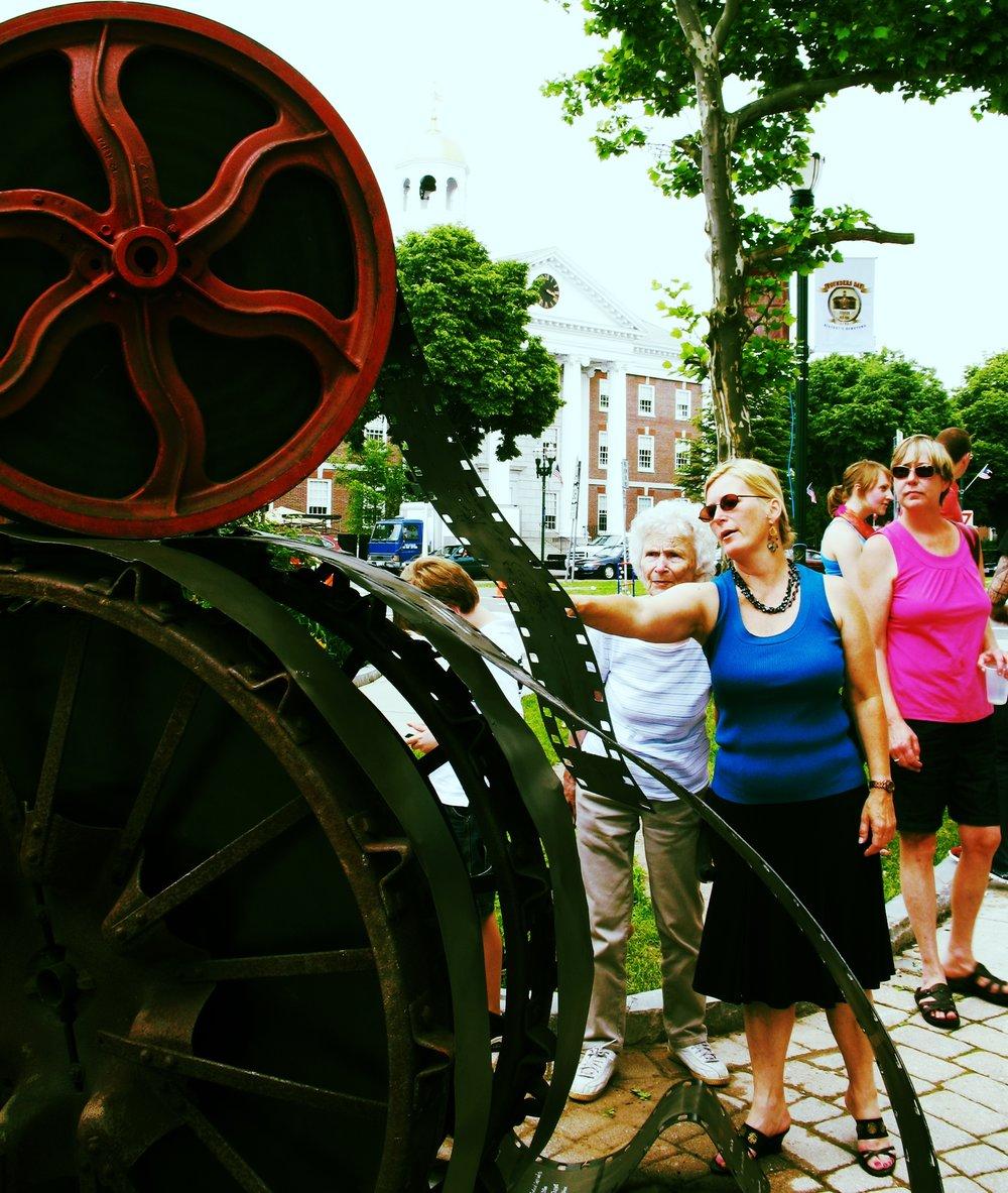 Wheel to Reel Sculpture by Audrey Iwanicki