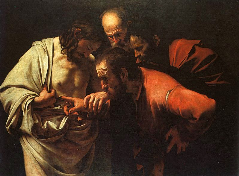 The Incredulity of St. Thomas, Caravaggio, Oil, c. 1601-02.