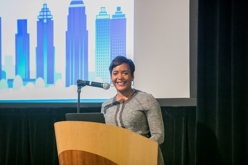 Mayor Keisha Lance Bottoms first announced the launch of the Atlanta EIB on March 26, 2018 at the 17th Annual Parks and Greenspace Conference