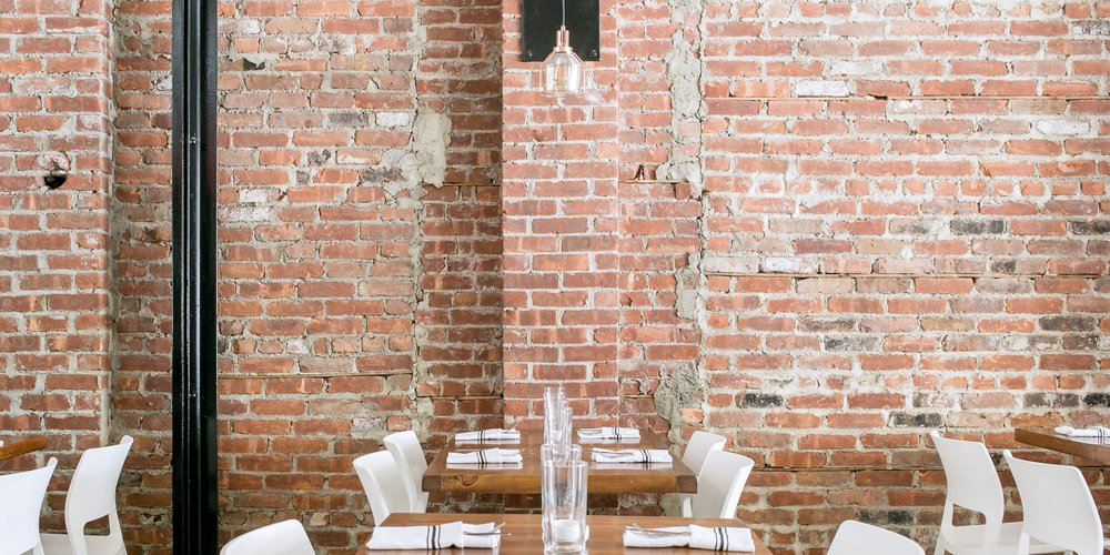 Brick wall in dining room