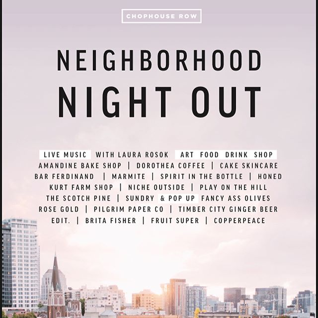 Stop by and visit us tonight 6-9pm at @chophouserow #neighborhoodnightout! Then swing by Linda's, redwood, and St. John's to support @veraproject  #ADFV2017
