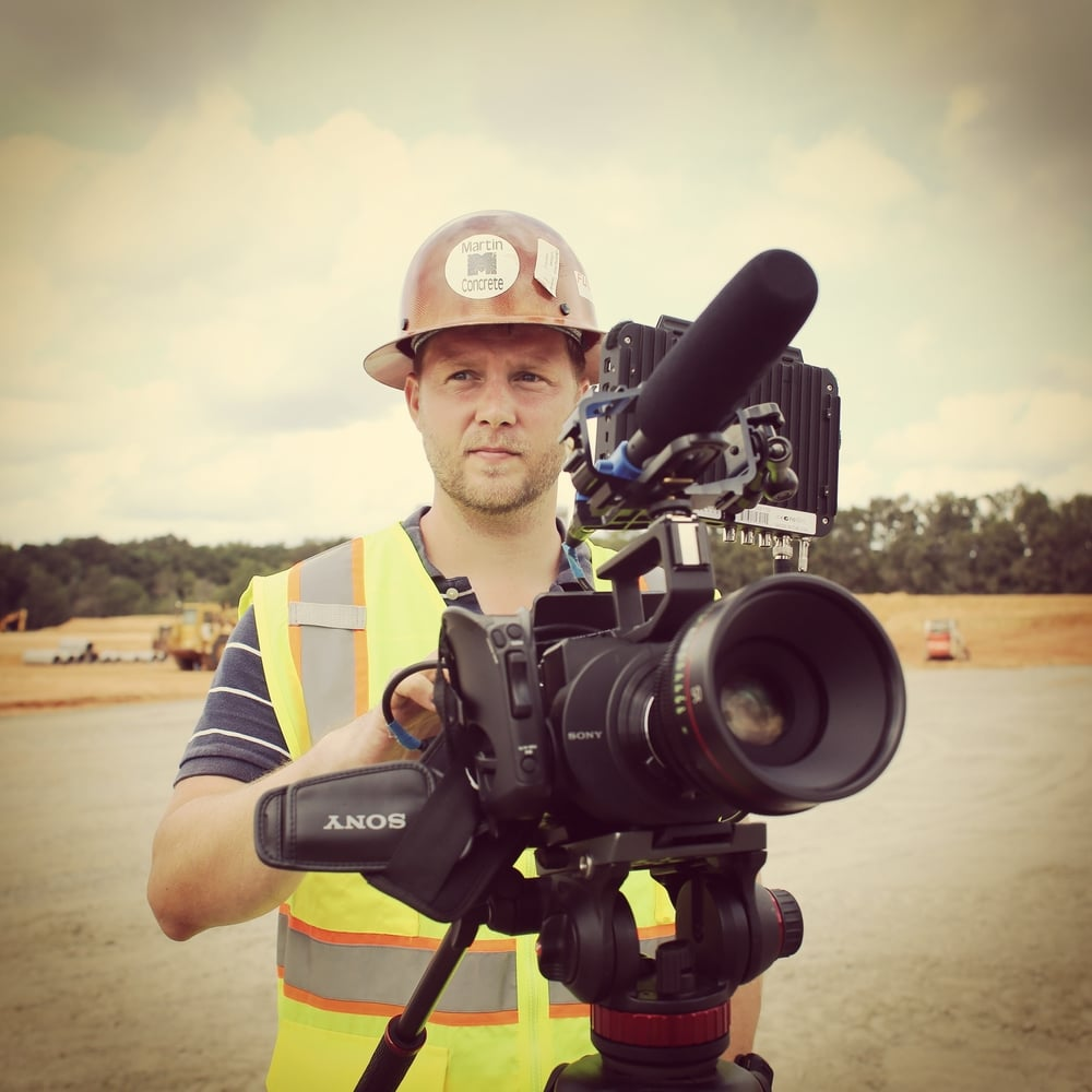 Charles Georgi behind a Sony FS700 camera, Canon CinePrime 50MM lens, and Oddysey 7Q