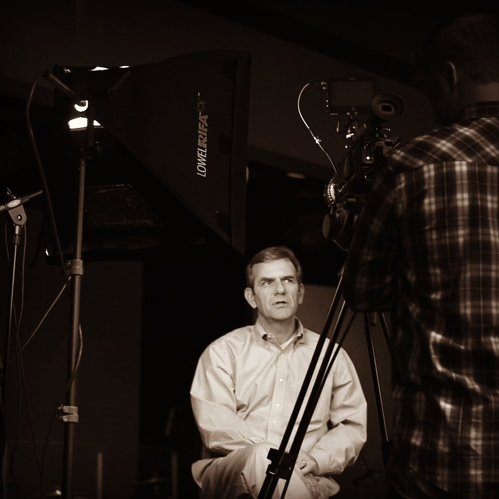 Tom Tanner behind the scenes while shooting the  Place of Development  video at Riverstone Church