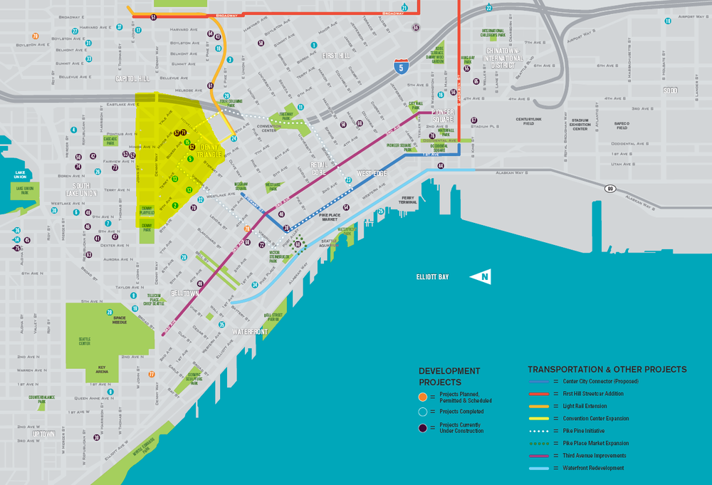 """The highlighted area on the development map produced by the Downtown Seattle Association is an emerging neighborhood that Dean Jones calls the """"East Village,"""" where many residential towers are planned."""