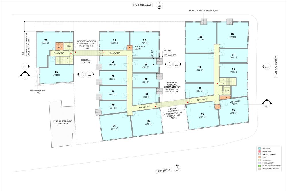 4th Level Floor Plan (5th and 6th Floors Similar)