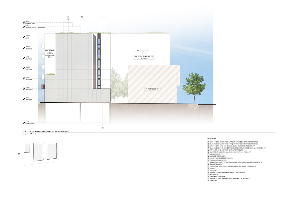 West Elevation: Shared Property Line