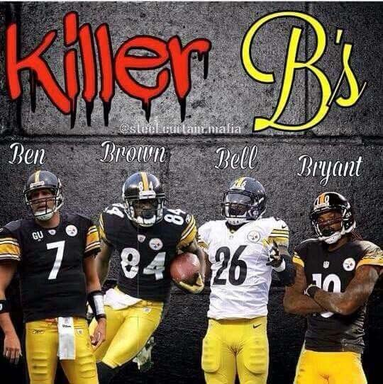 Not to be outdone...the 2017 Pittsburgh Steelers had their own version of the Killer B's, but this time it was four outstanding offensive players that helped to get them to the AFC Championship game. They obviously learned an important thing from their Miami Dolphin predecessors...keep your helmets on for the photos so you don't have to explain any fad haircuts.