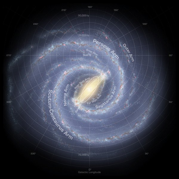 Map of the Milky Way. Robert Hurt (Spitzer/NASA)