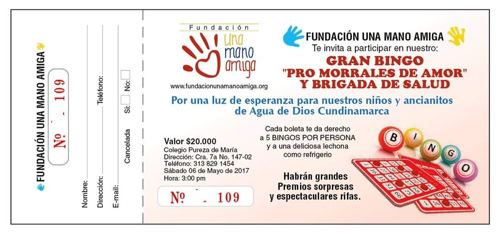 Grand Bingo - Help us meet our goal and provide basic needs to the children and elderly of Agua de Dios. Please, join our campaign and come to our Grand Bingo for Backpacks of Love. Be a light of hope in the lives of our children and elderly. Each bingo ticket will give you 5 bingo cards per person and a snack.Address: Colegio Pureza de MariaCra 7a. # 147 - 02