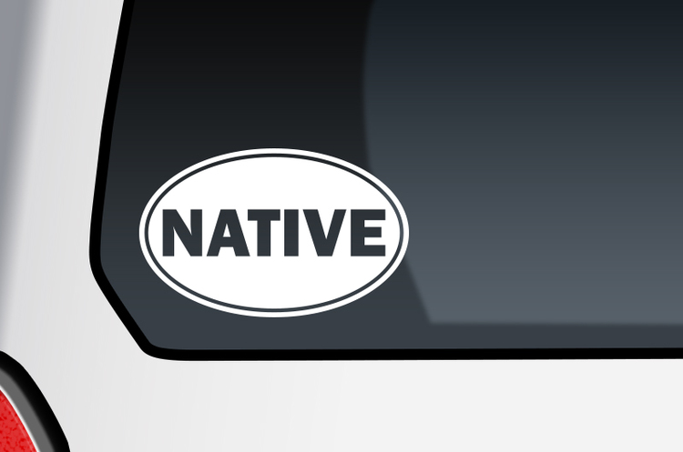 Native oval shape car decal