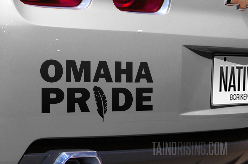 Omaha pride feather native american decal 6 x 3 by taino rising