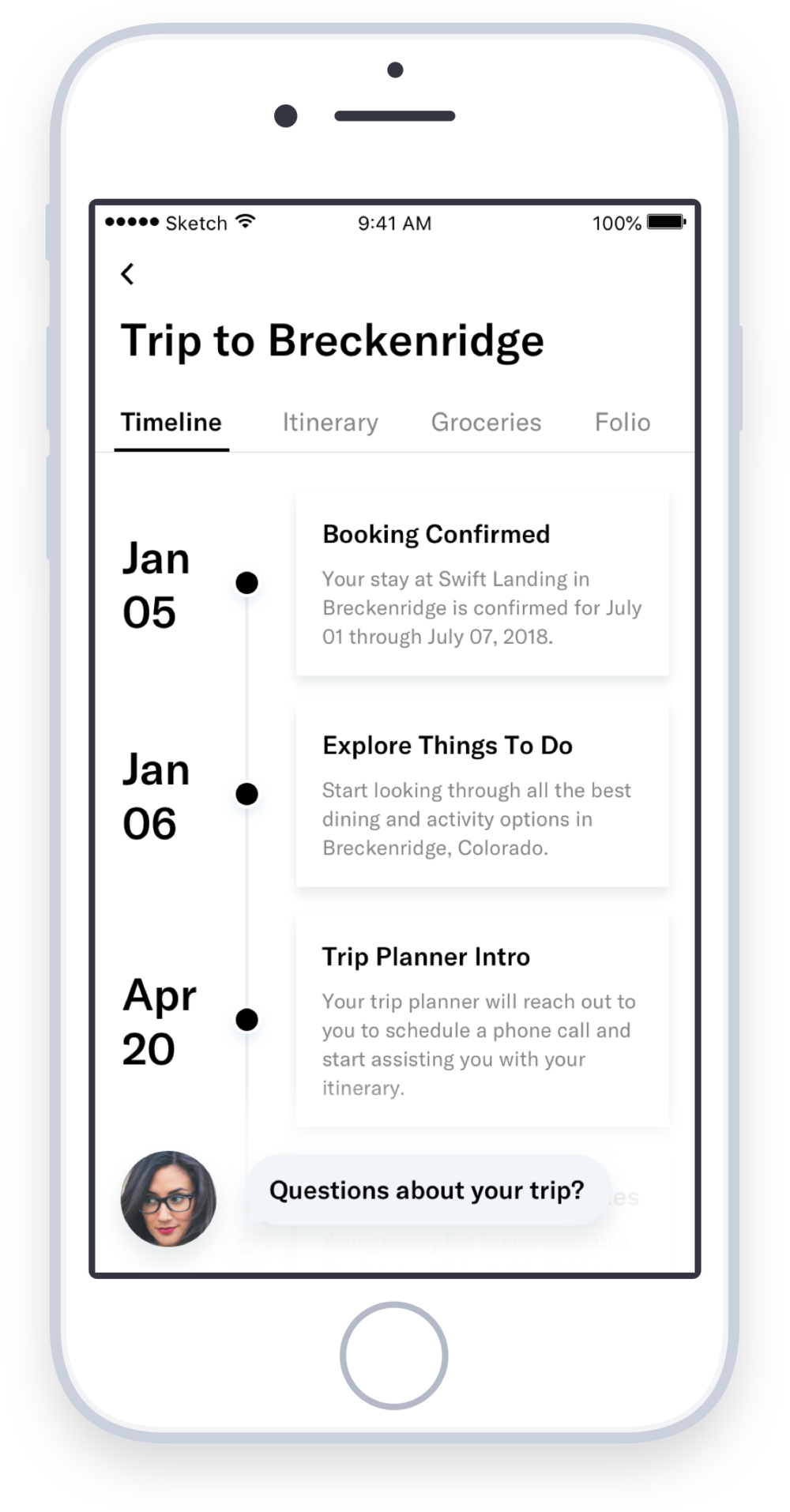 Visibility into everything that happens from booking to check in - The Trip Timeline helps members keep track of all the different pieces involved in planning their trip. From directing them to browse things to do, to grocery order reminders, and finally introductions to their local concierge a few days before check in, the trip timeline keeps members engaged with Inspirato and dreaming of their trip for months leading up to their vacation.
