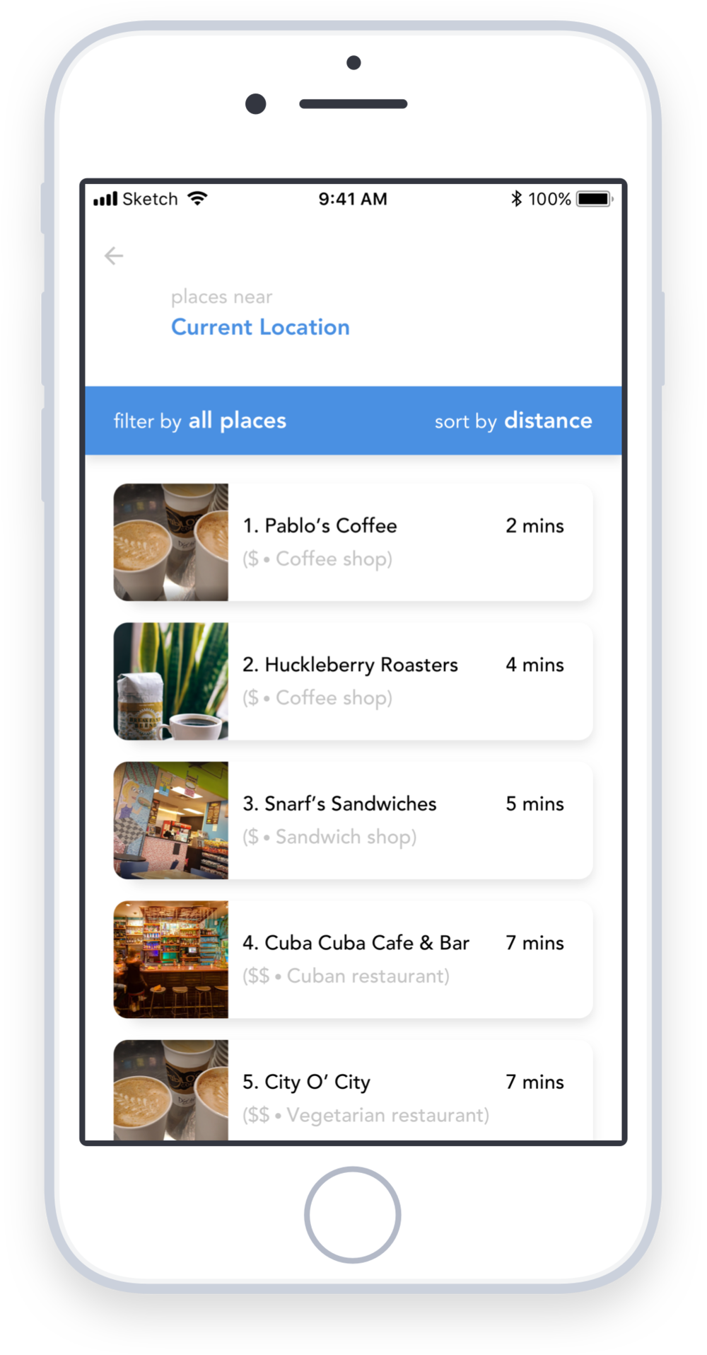 Nearby places help users make the most of unexpected delays - Nobody loves when their journey is delayed—but it happens. With RTD Beacon, people don't have to spend their extra time waiting in crowded transportation hubs. RTD Beacon helps users find nearby points of interests to stop along their way. Now, an 18 minute delay could turn into an enjoyable cup of coffee along the way!