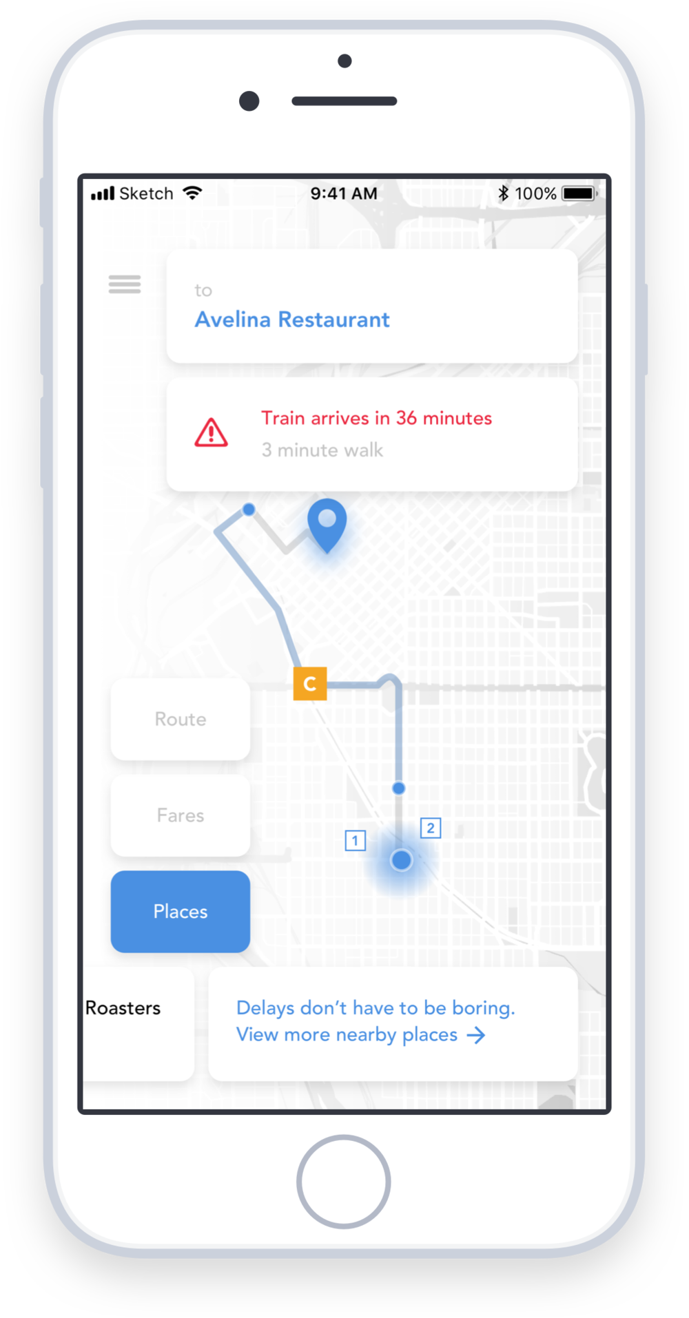 Real time notifications keep riders alerted - RTD Beacon places real time trackers in busses and trains throughout the city, so riders can be kept up to date about delays. If a delay happens on the selected route, RTD Beacon will send a notification letting users know just how much time they have.