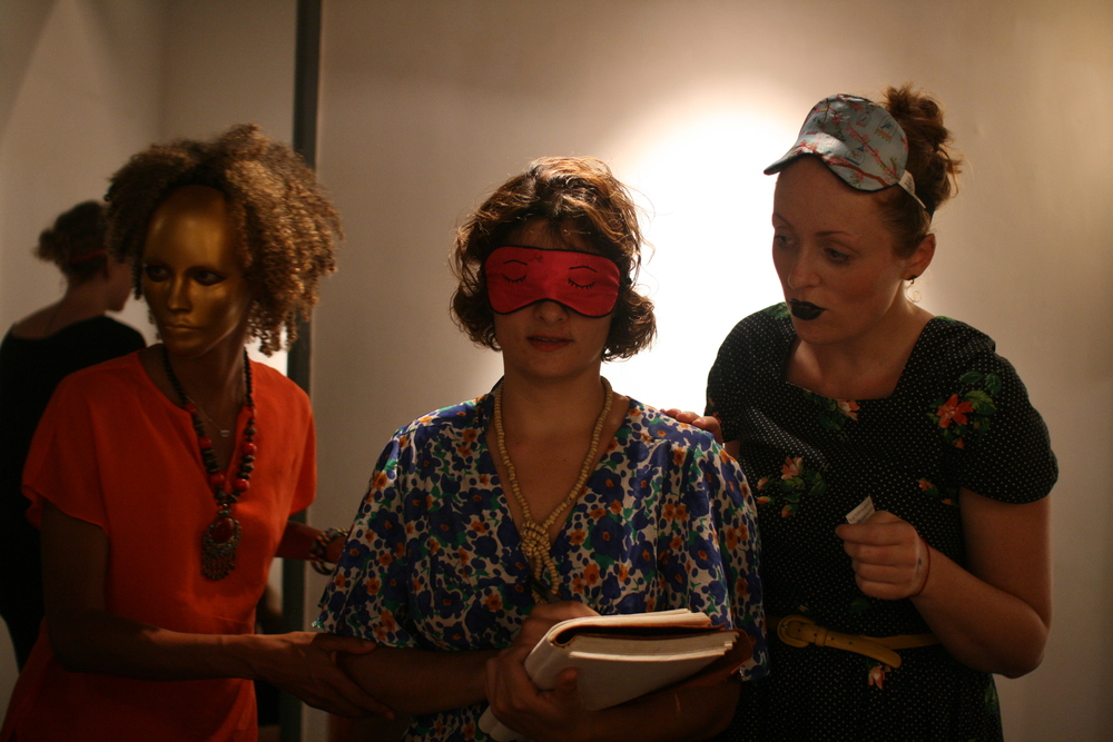Midnight Tea Guests, Maria and Olivia with Miko Kuro (Gold Mask).