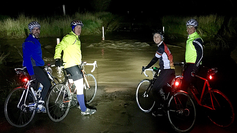 Don't get caught out... like the 6am bunch did a couple of weeks ago when it rained a little more than anyone expected and the ford on Graves Road called for a detour!
