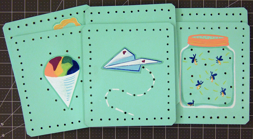 Six lacing cards, featuring colorful handpainted imagery relevant to my 5-year-old niece.