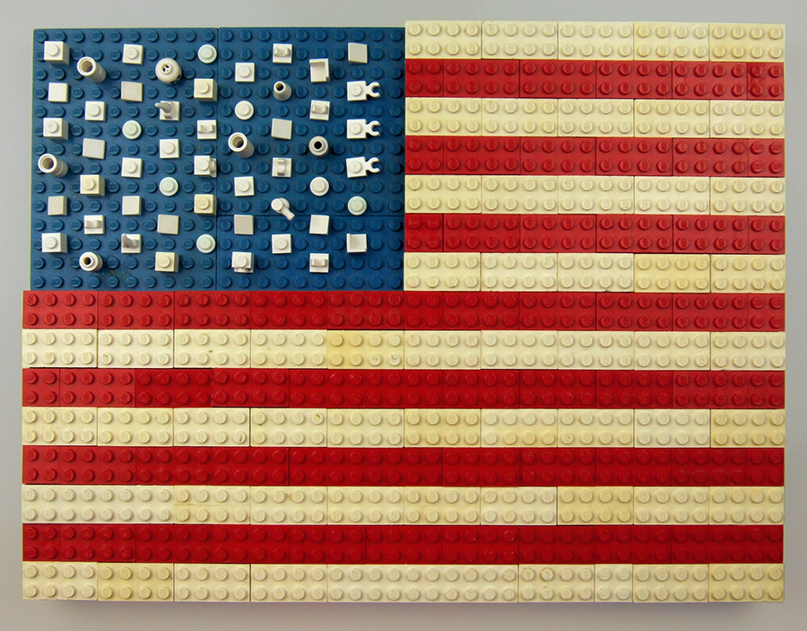 You can tell many of these blocks are vintage, just from discoloration of the white plastic.  And in case you feel inclined to check my work, there are 54 stars and 15 stripes in this Lego rendition of the flag.  Which is too many of both, but not by much!  And it looks pretty good, all the same.