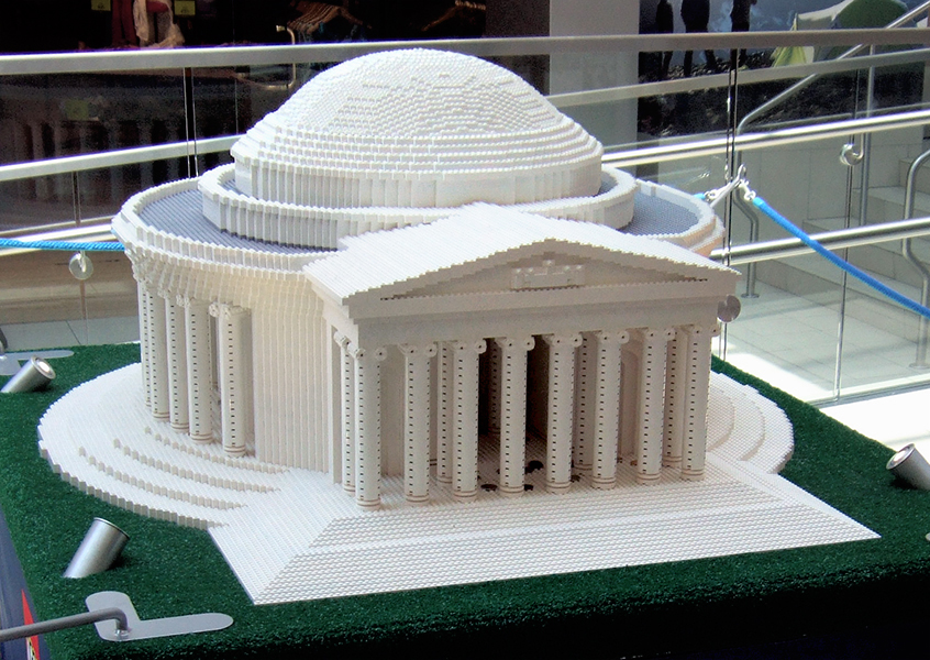 Jefferson Memorial, 230 hours to assemble at 1:51 scale.  There's a miniature Jefferson statue inside, but it's too dark to really see.