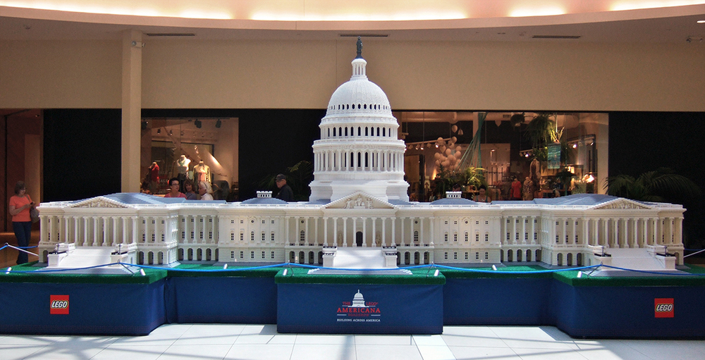The U.S. Capitol Building, 1700 hours to assemble at 1:29 scale.  The little LEGO statue at the top of the spire raises more than 10 feet into the air!  I tried to get a good photo of him, but I should have brought a DSLR instead of my little all-in-one pocket camera.