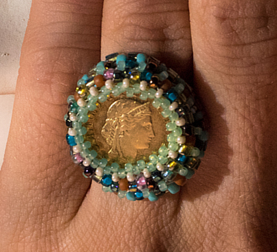 A beaded ring