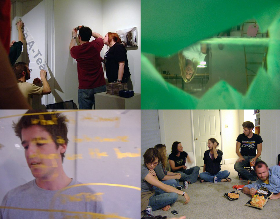 "Candid photos of my classmates during graduate school, starting with our 1st year exhibition (2005, top left) and ending with the last gathering of friends in my home, while I was actively moving out (2008, bottom right).  These are photos of ""artists"", otherwise ordinary people, just doing what they do."