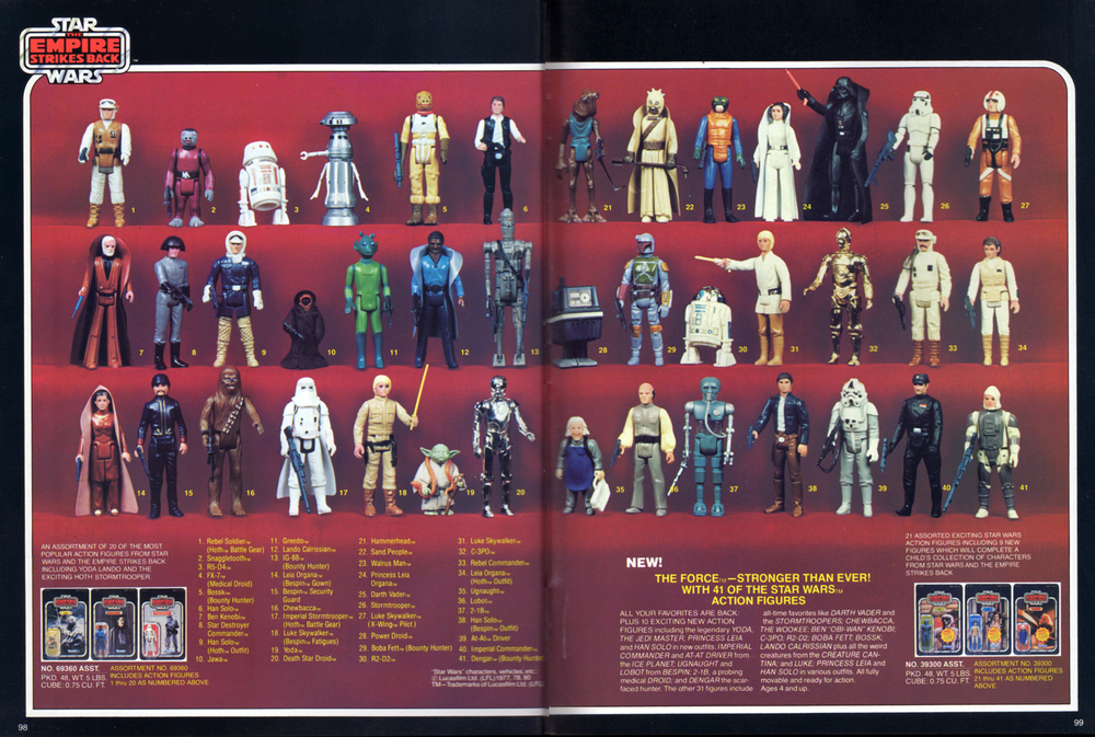 Star Wars: The Empire Strikes Back, poseable action figures assortment from Kenner Products, 1981.