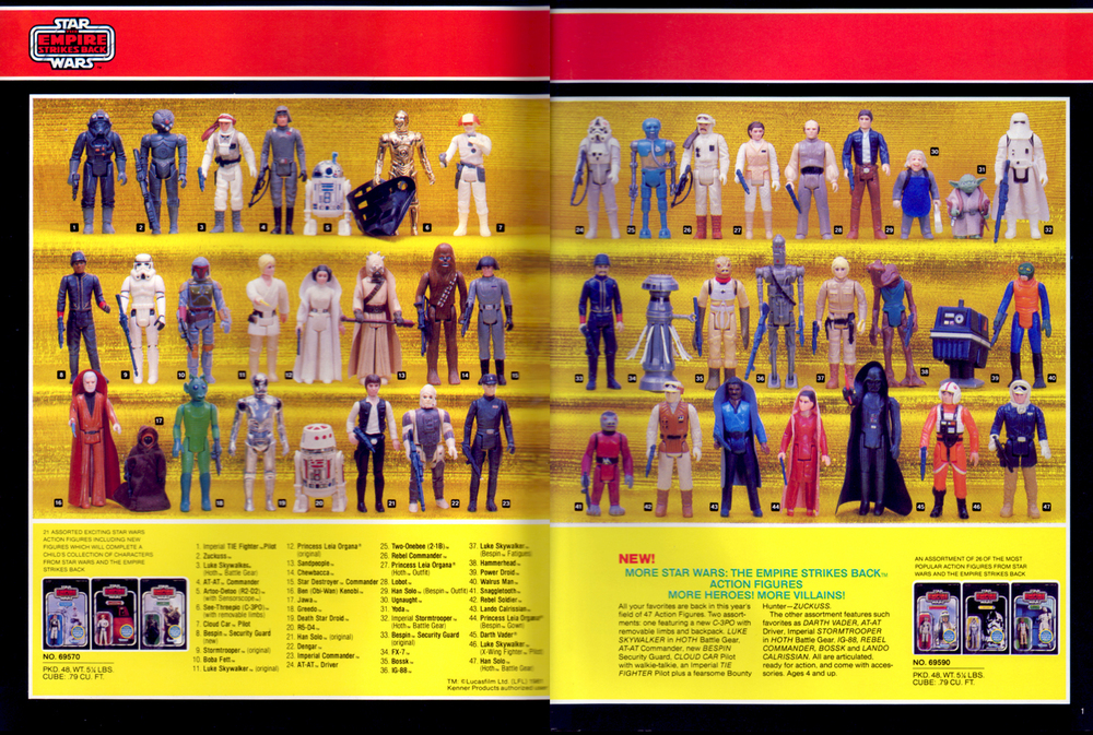 Star Wars: The Empire Strikes Back, poseable action figures assortment from Kenner Products, 1982.