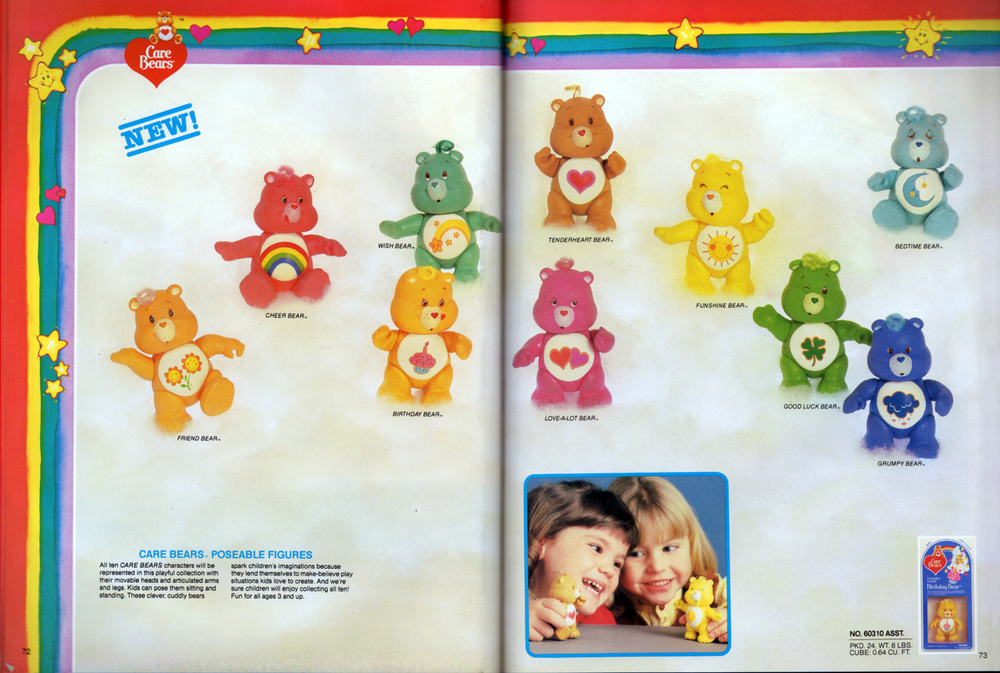 Care Bears poseable figures assortment from Kenner Products, 1983.