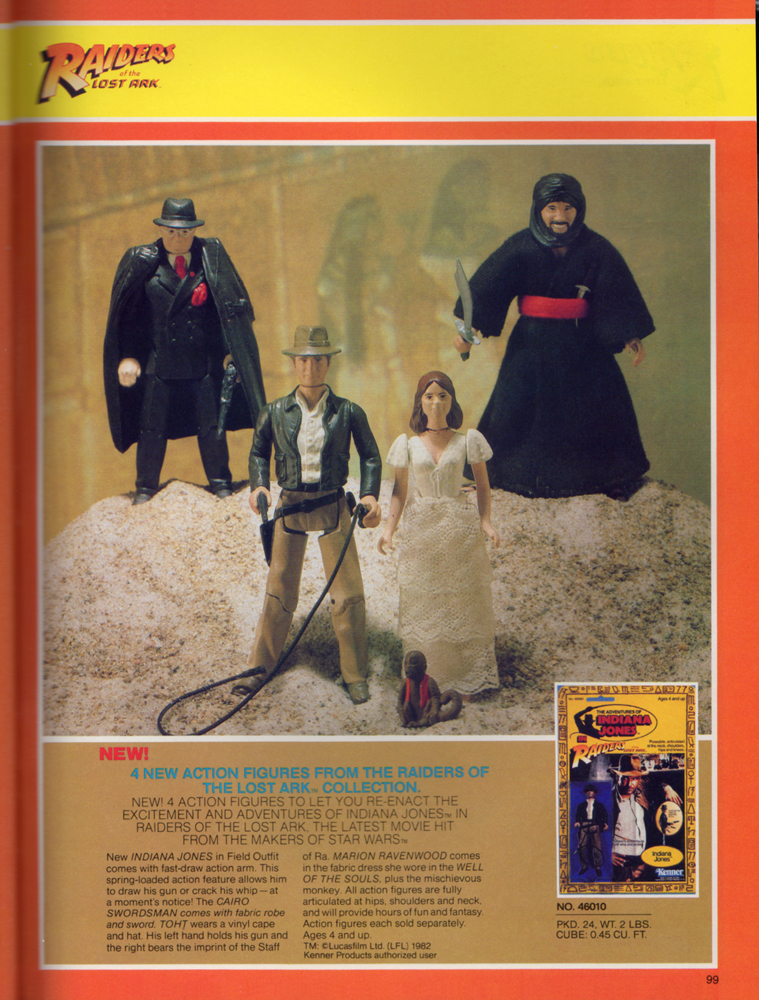 Raiders of the Lost Ark (Indiana Jones) action figures assortment from Kenner Products, 1982.