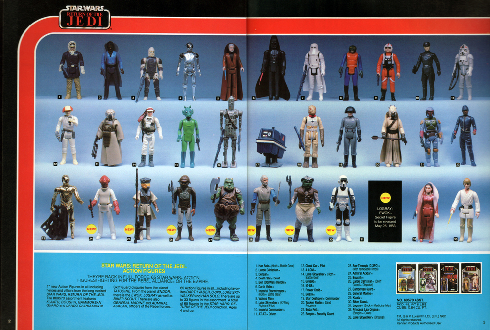 Star Wars: Return of the Jedi, poseable action figures assortment from Kenner Products, 1983.