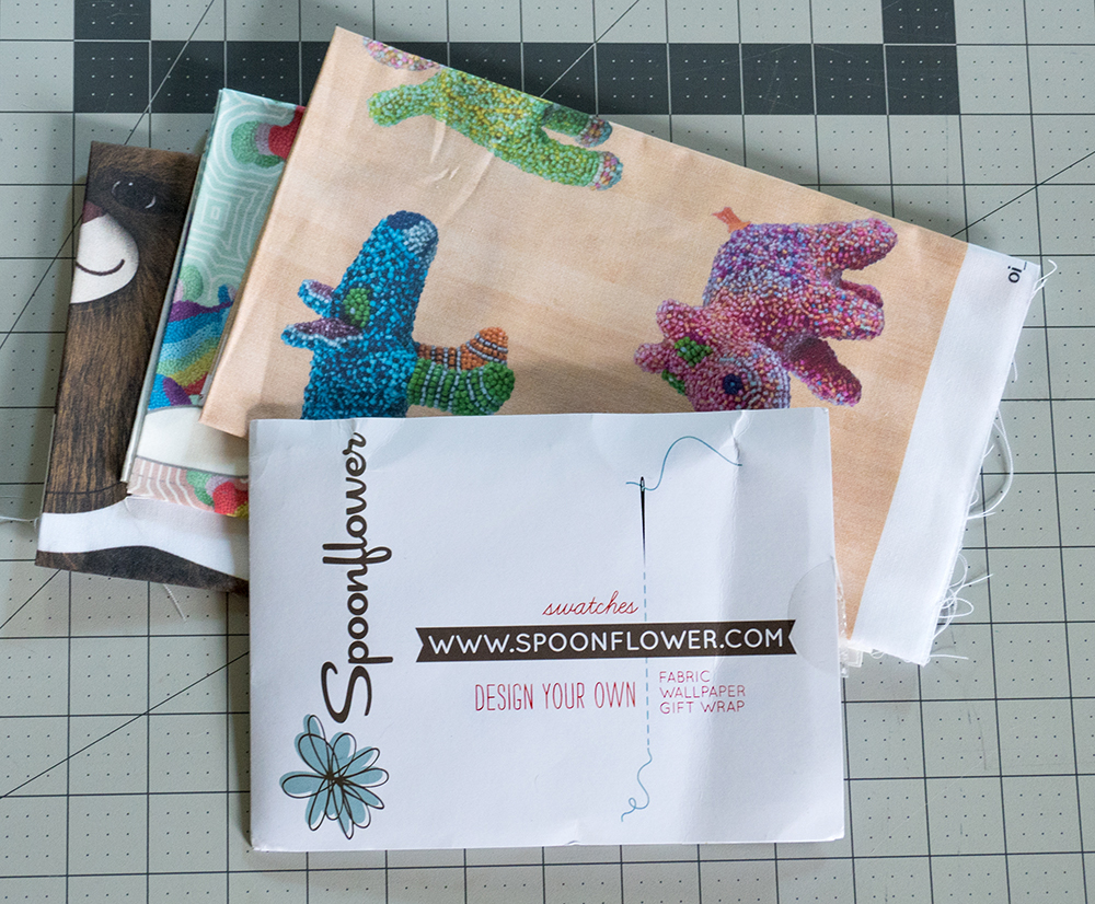 "My purchases include three ""Fat Quarters"", each of my own design, and a pack of sample swatches.  Each fat quarter cost me close to $5 (BOGO!), and the sample pack cost me $1."