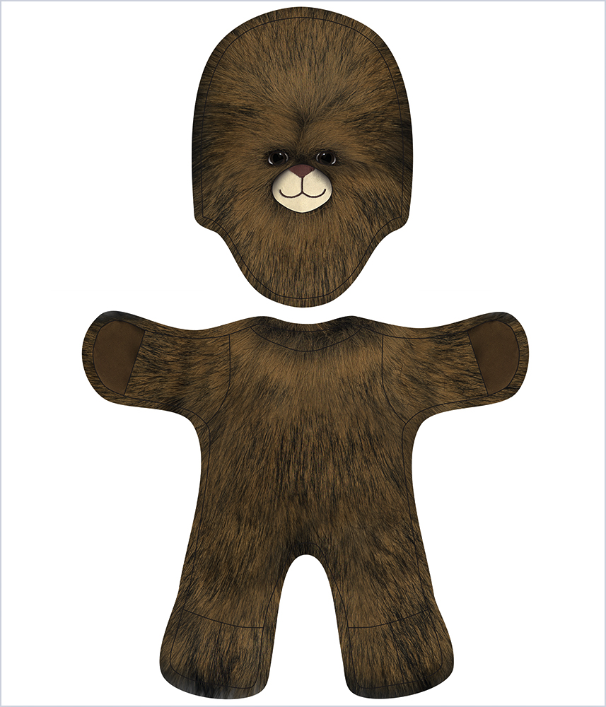 To create this image, I laid a digital scan into the line-art illustration of  BAB Wookie or Sasquatch Costume Sewing Pattern  in Photoshop, with some added details (the face! the paw pads!) and some adjustments for color and contrast.