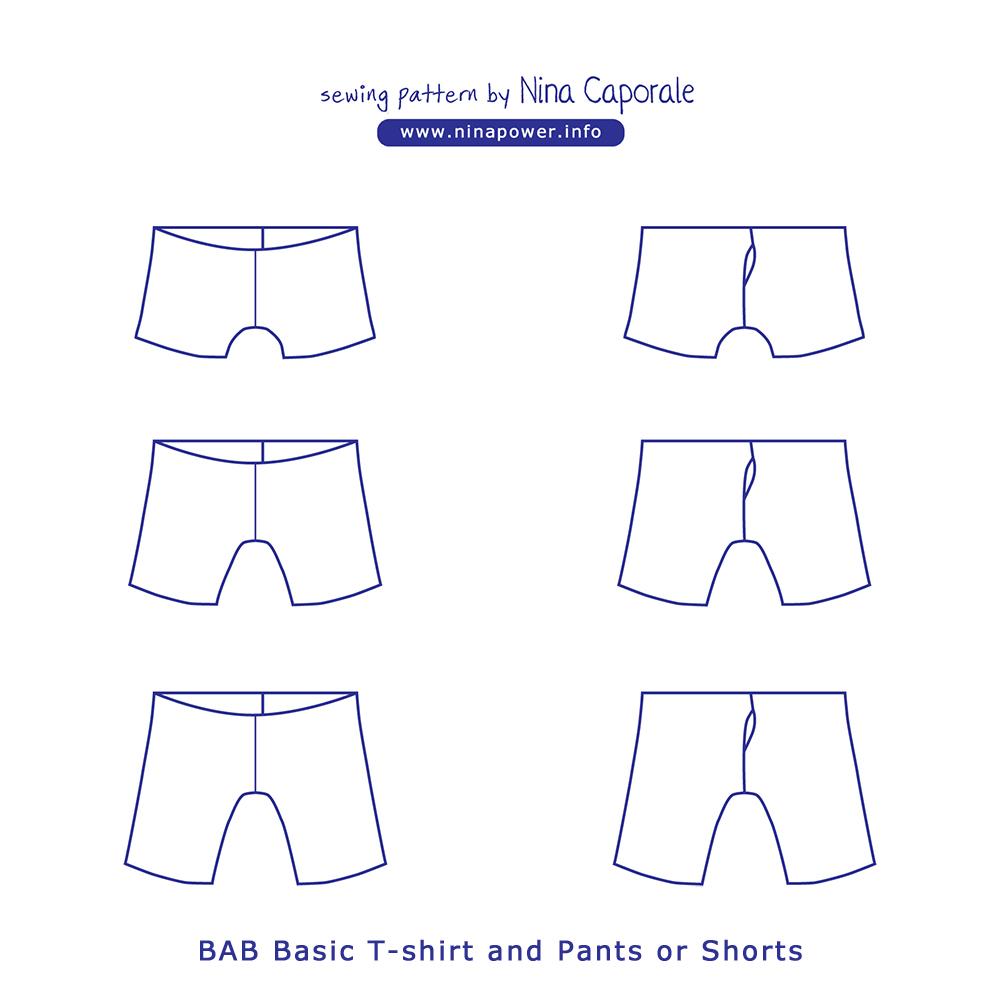 BAB Basic T-shirt and Pants or Shorts Sewing Pattern — Nina Caporale