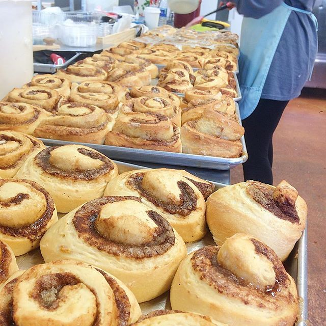 Cinnamon Rolls getting dressed for the day! Open until 12pm today @ 110 Loop Road in Sherwood.
