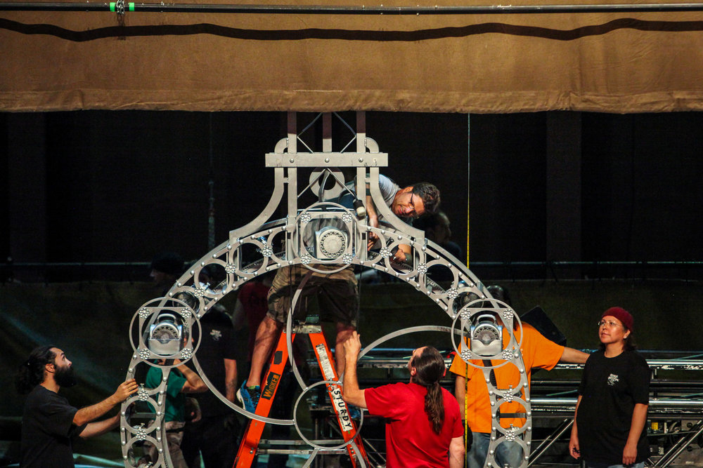 "Crew load in and assemble the set for ""Wicked"" on Tuesday morning, September 16, 2014, at Popejoy Hall. Popejoy Hall will host the national touring act of ""Wicked"" for 24 shows beginning today at Popejoy Hall. The production travels with nearly 100 cast and crew members and while in Albuquerque, it hires 68 local talent for load in and will hire another 95 when the show ends its run in the Duke City on Oct. 5. According to Popejoy officials, there are also 15 local residents who are hired to help run the show. (Morgan Petroski/Journal)"