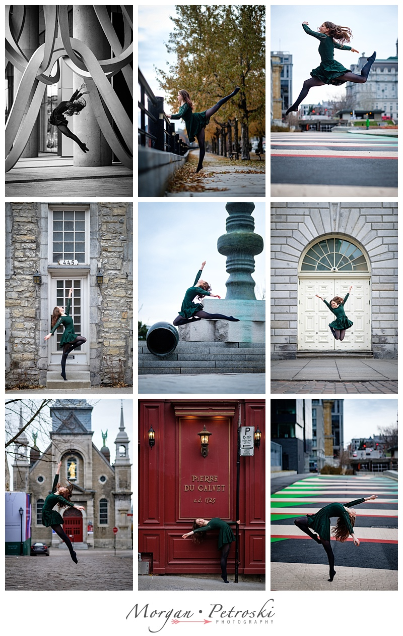 Dancer leaping in Old Montreal