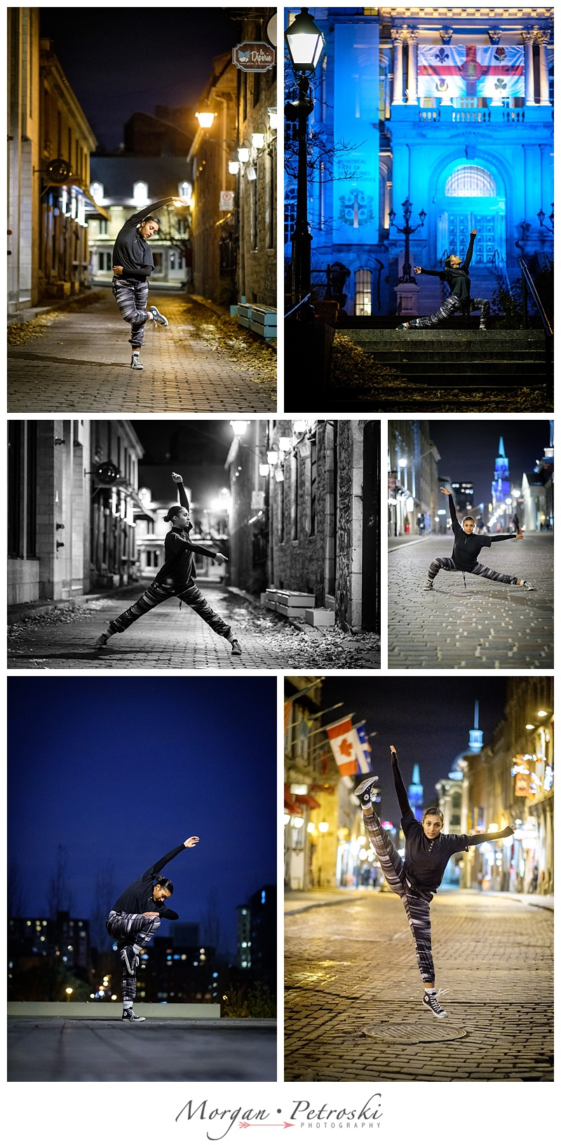 Woman dancing in Old Montreal at night