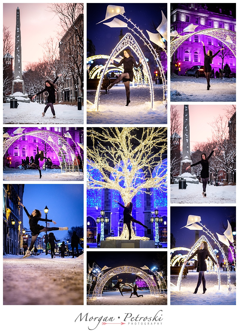 Dancing outside in the snow