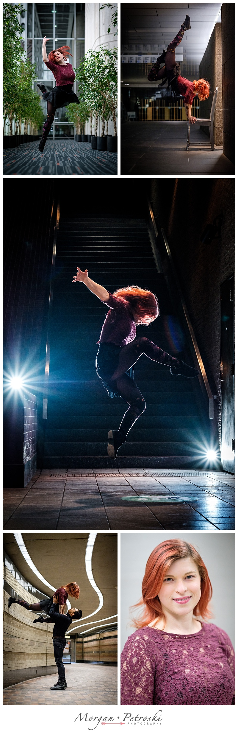 Dancer in the air with two lights behind
